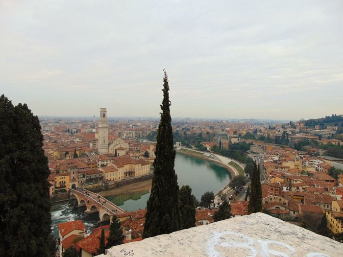 River Top Top View Rooftops Winter Peaceful Verona Trip Tranquility Tower Clouds Artiseverywhere Travel Destinations Architecture Cityscape No People Outdoors Built Structure Day City Tree Building Exterior Sky