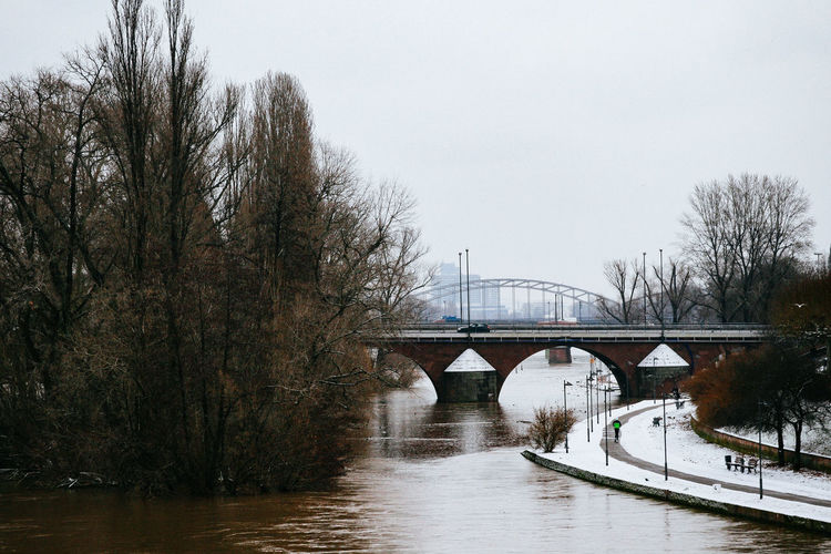 Frankfurt am Main in winter Arch Arch Bridge Architecture Bare Tree Bridge Bridge - Man Made Structure Built Structure Clear Sky Connection Day Engineering Footbridge Long Nature No People Outdoors River Riverbank Scenics Sky Tranquil Scene Tranquility Tree Water Waterfront