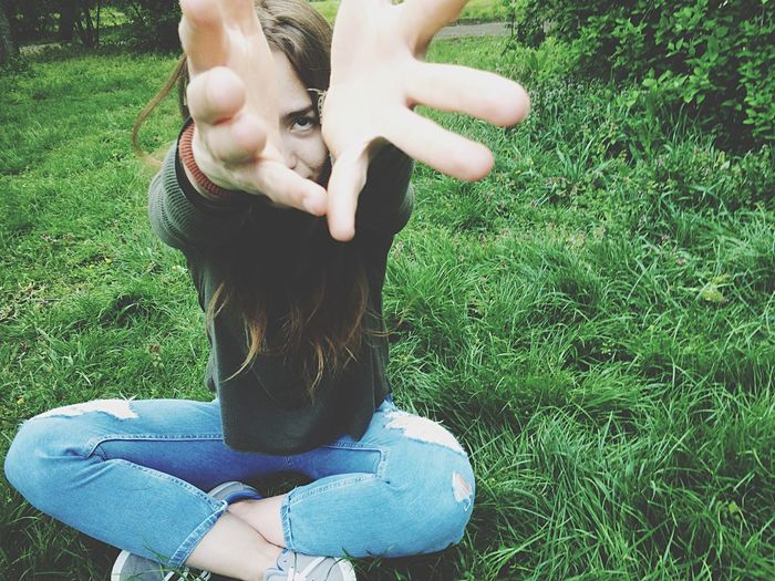 Visual Creativity Grass Real People Green Color Leisure Activity Casual Clothing Field Day One Person Lifestyles Sitting Women Growth Young Women Nature Young Adult People Resist EyeEm Diversity Long Goodbye Resist TCPM Love Yourself