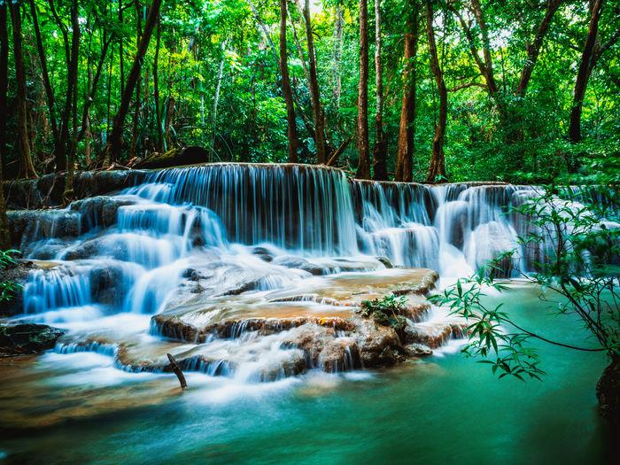 Huai mae khamin waterfall in forest kanchanaburi thailand