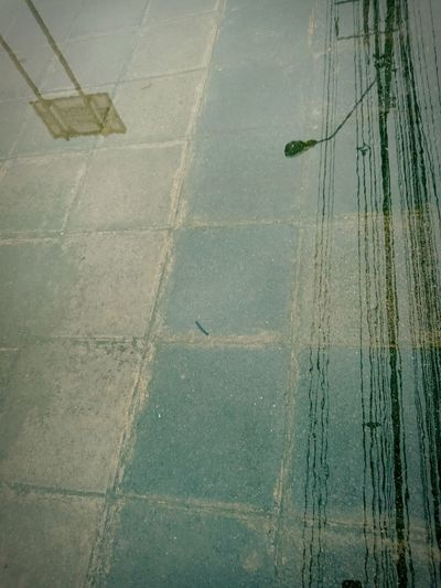 High angle view of wet footpath