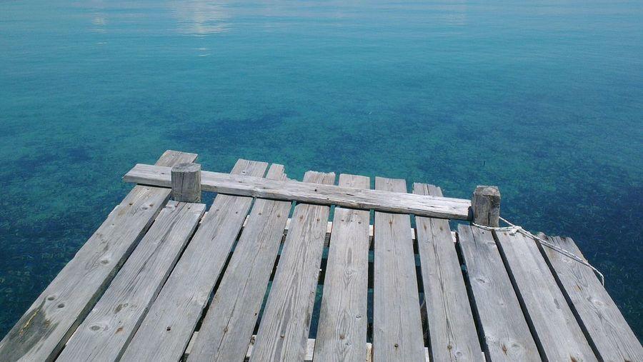 Wooden pier against sea