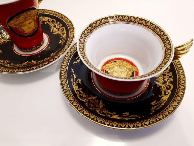 Tea Cup Saucer Food And Drink Plate Close-up Fiveoclock Tea Time Coffee Set Tea Set Rosenthal Versace Medusa Head Refreshment