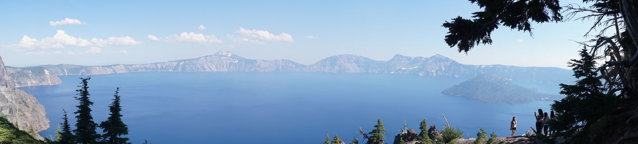 Crater Lake National Park Beauty In Nature Blue Day Fog Lake Landscape Mountain Mountain Range Nature No People Outdoors Panoramic Scenics Sky Snow Tranquil Scene Tranquility Travel Destinations Tree Water Winter