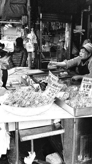 Women At Work Outer Market Tsukiji Fish Market Fish Cakes Tokyo Japan Travel Photography Black & White