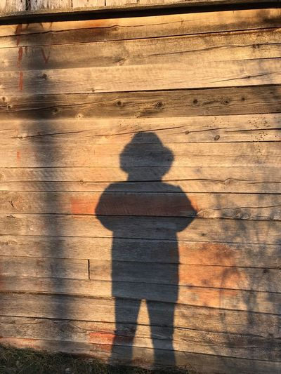 Shadow of person on footpath