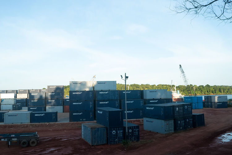 Container Port in Kijang Bintan  Bintan Island Bintanisland Blue Built Structure Cloud - Sky Container Container Port Container Terminal Containers Day Daylight Meratus No People Outdoors Port