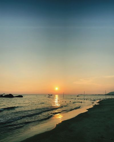 Sea Sunset Beach Nature Beauty In Nature Scenics Water Tranquility Tranquil Scene Sand Sky Horizon Over Water Sun Vacations Travel Destinations No People Outdoors Clear Sky Wave BEIJING北京CHINA中国BEAUTY