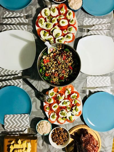 Dinner table Table Variation Food And Drink Plate Still Life Food High Angle View Choice Freshness Directly Above Bowl Healthy Eating No People Ready-to-eat Serving Size Vegetable Salad Indoors  Arrangement Day