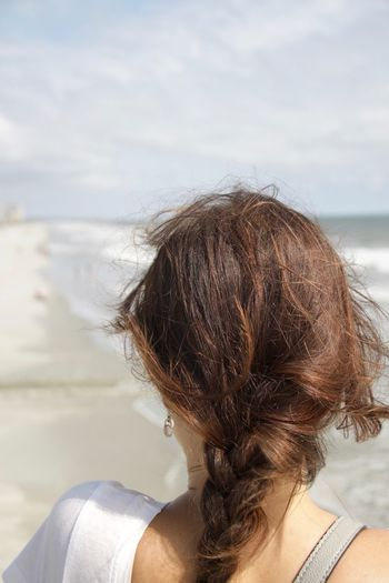 South Carolina Surfside Beach USA Beach Brown Hair Close-up Girl Headshot Leisure Activity Lifestyles Long Hair Nature Ocean One Person Outdoors People Plait Real People Rear View Sea Vacations Water Women Young Adult Young Women Go Higher Inner Power Visual Creativity Summer Exploratorium Visual Creativity Summer Exploratorium