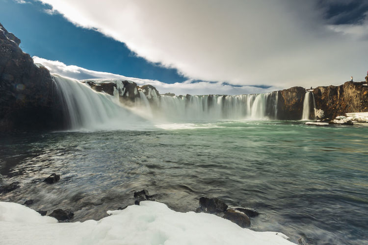 Godafoss waterfall in iceland winter on sunny day Iceland Beauty In Nature Blurred Motion Cloud - Sky Day Environment Falling Water Flowing Flowing Water Godafoss Long Exposure Motion Nature No People Non-urban Scene Outdoors Power Power In Nature Scenics - Nature Sky Travel Destinations Water Waterfall