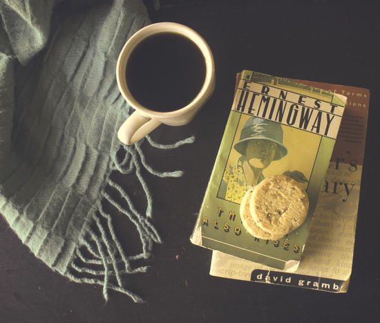 Hemingway time Food And Drink Text No People Food Close-up Indoors  Food And Drink Paper Autumn Fall Leaf Books Tea - Hot Drink Directly Above Mug Indoors  Coffee - Drink Table Ready-to-eat Focus On Foreground Cozy Circles Blanket