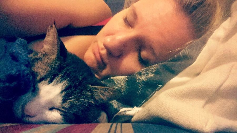 Night Night, Sleep Tight Willie AdoptDontShop Snoozing A Girl And Her Cat