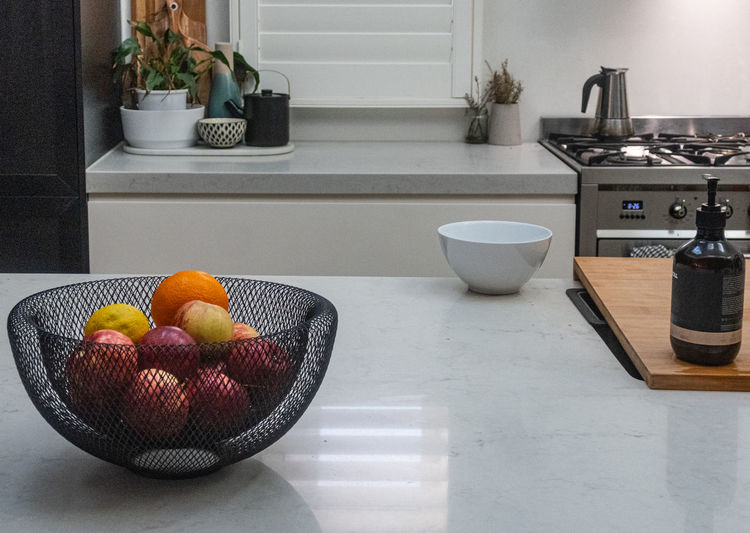 Fruits in bowl at home