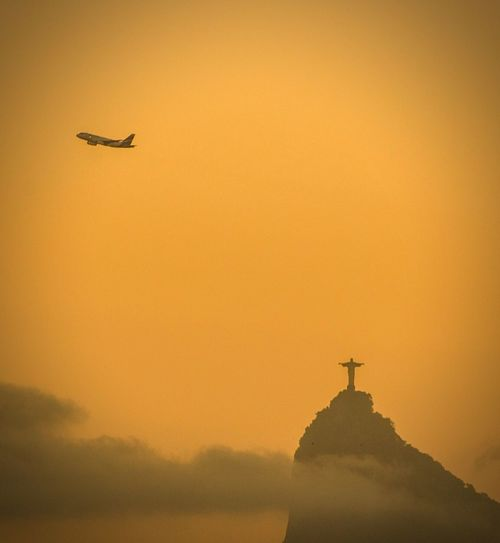 Leaving Rio Sunset Outdoors No People Flying Beauty In Nature Airplane Day Yellow Rio De Janeiro Cristo Redentor Cristo Take Off Travel