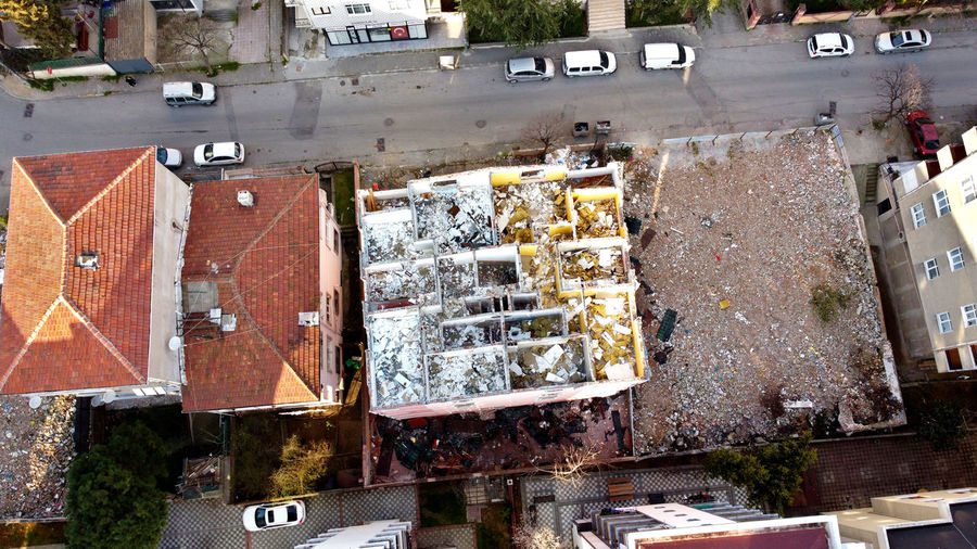 High angle view of damaged building in city