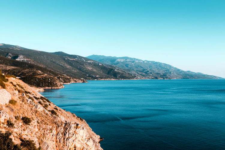 Croatia Ocean View Seascape Photography Beauty In Nature Blue Clear Sky Cliff Copy Space Croatia ♡ Day Hrvatska Mountain Mountain Range Nature No People Outdoors Scenics Sea Sea And Sky Seascape Seaside Sky Tranquil Scene Tranquility Water