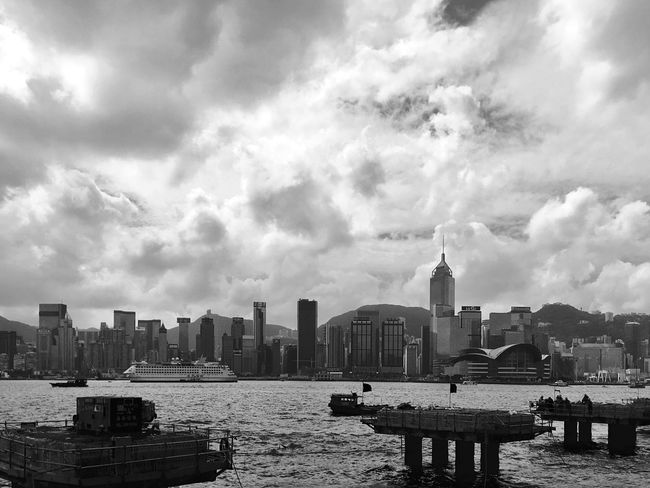 Building Exterior Architecture Waterfront Skyscraper Urban Skyline Cityscape Nautical Vessel Construction Site City In The Morning Urban Architecture Building And Sky Light And Shadow Cloud - Sky Architecture IPhoneography Black And White Black & White Victoria Harbour
