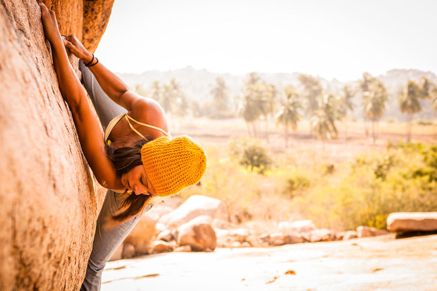 Adventure Ancient Bouldering Climbing Culture Girl Hampi  Hat Heat Hot India Indian Outdoors Palm Trees Rock Strength Sun Travel Travel Destinations Travel Photography Traveling Trees Tropical Tropical Climate Woman