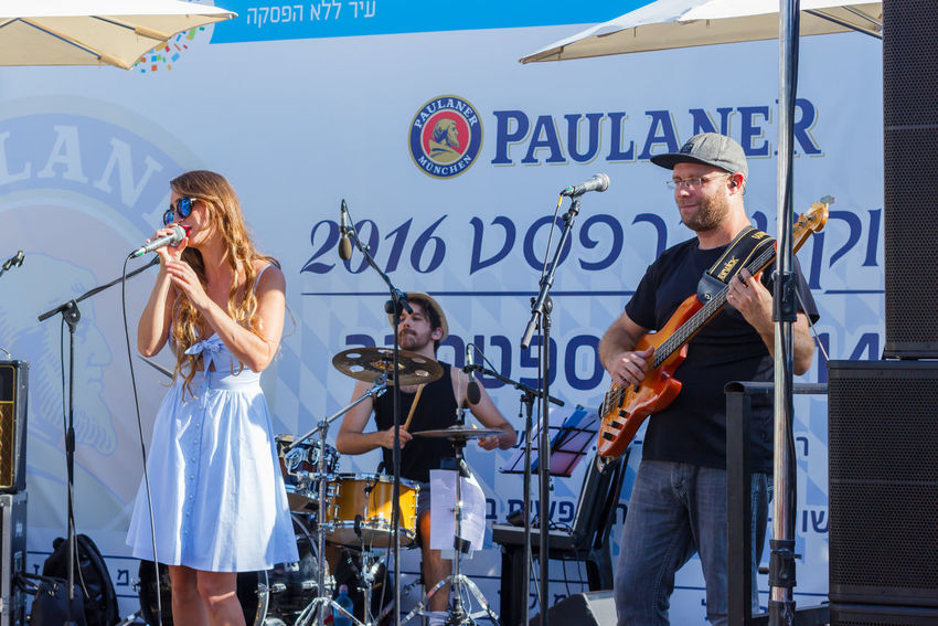 "Tel Aviv, Israel, September 16, 2016: Performance of the musical group ""Beer garden"" at the annual beer festival in Tel Aviv, Israel Alcohol Annual Attractive Beer Celebration Clothes Costume Culture Dress Drink Event Festival Festive Folk Fun Glass Guest Happy Holiday Israel Mug Oktoberfest Smile Tel Aviv Traditional"
