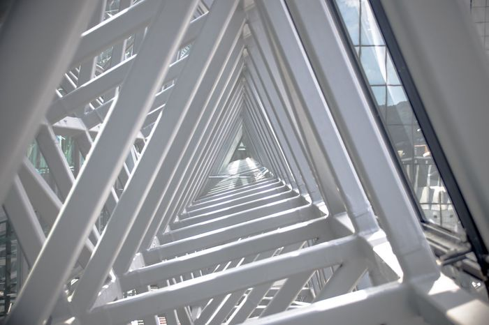 Architecture Steps And Staircases Staircase Low Angle View Built Structure Indoors  Day No People Modern Art Art Is Everywhere EyeEm Best Shots Triangle Triangle Shape Cool Street Station Continuous Depth Of Field Focus