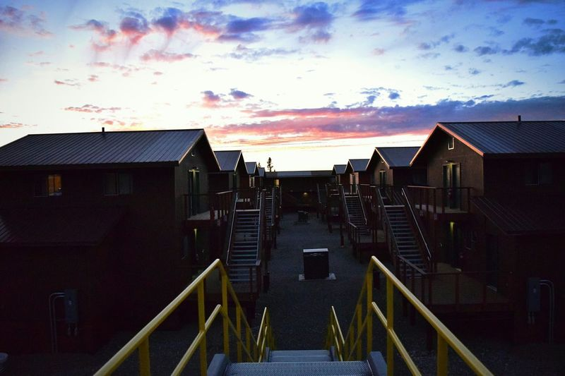 Healy, AK. Alaska Cabin Shire Steps Stairs Railing Yellow Buildings With Sunset Healy Buildings Urban