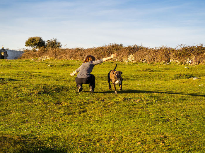 Full length of mature woman playing with dog on grass