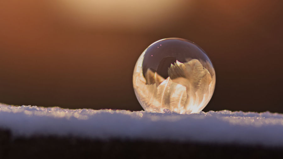 Bubbles Frozen FrozenBubbles Circle Close-up Crystal Ball Day Nature No People Outdoors Planet Earth Sky Sunset