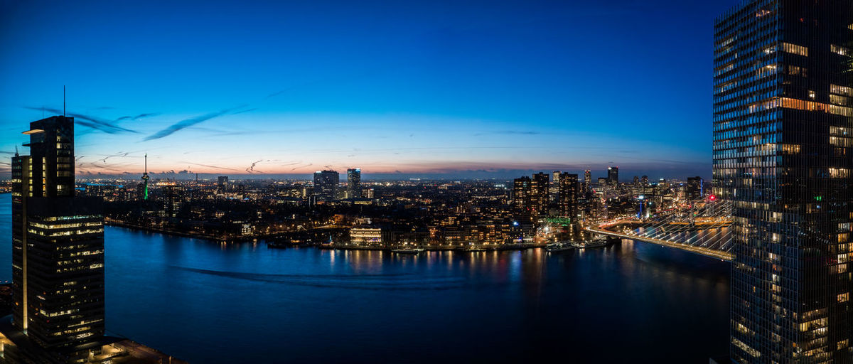 Rotterdam Architecture City City At Night Cityscape Netherlands Panorama Rotterdam Bluehour City Lights