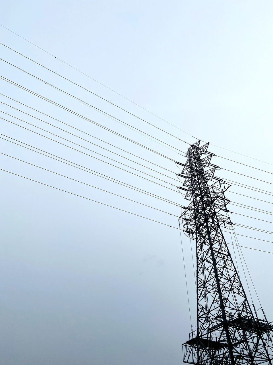 LOW ANGLE VIEW OF SILHOUETTE ELECTRICITY PYLONS AGAINST SKY