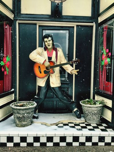"""Elvis Lives!"" Life size replica of Elvis Presley in a doorway on a street in Williams, AZ, USA. Elvis Presley Statue Elvis Travel Photography Tourist Destination Tourist"