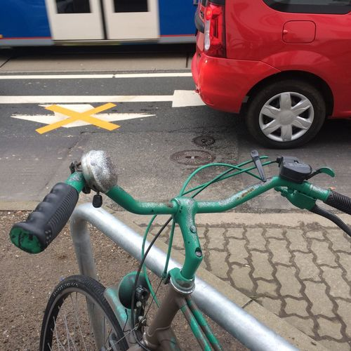 3 colors Bicycle Bluegreenred KTV Rostock Mode Of Transportation Redbluegreen Land Vehicle Stationary Road Red Car