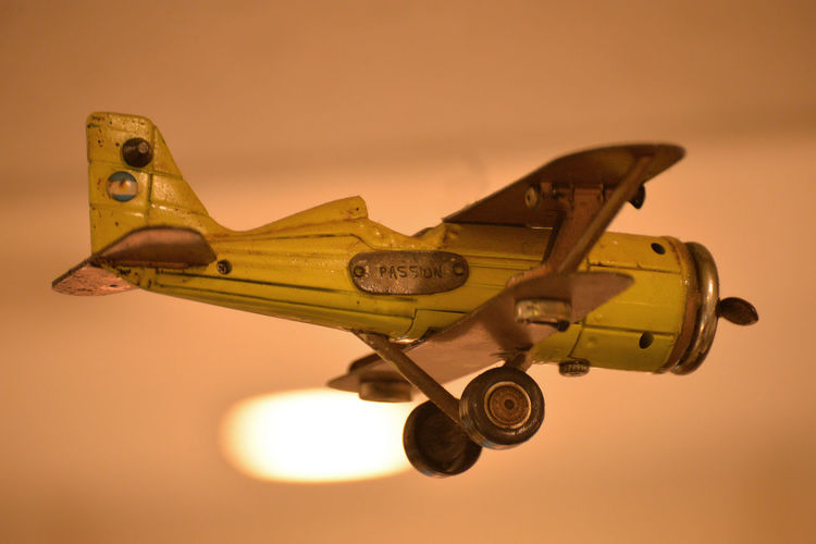 Close-up of model airplane