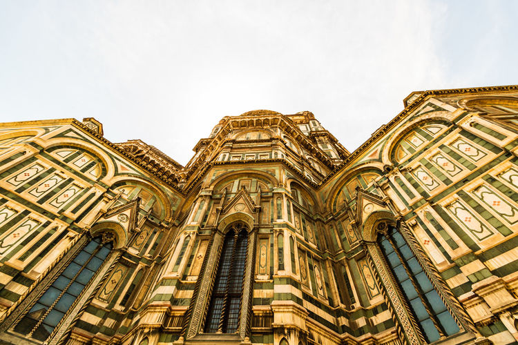 Low angle view of duomo santa maria del fiore against sky in city