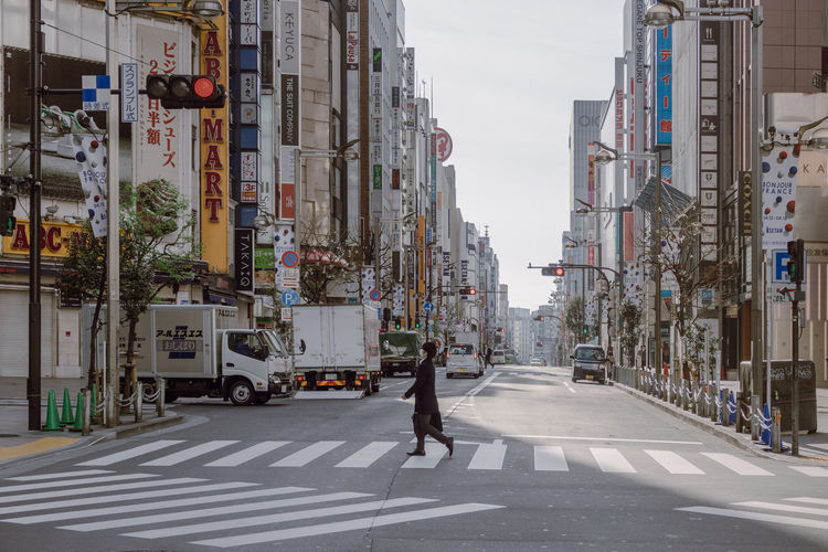 Crossing Street Architecture Building Exterior City Crossing The Street Japan Land Vehicle Morning Road Shops Street Tokyo Walking