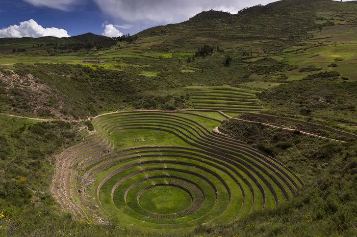 Moray, an old Inca site near Cuzco, Peru. Mountain Outdoors Landscape Agriculture Cloud - Sky Nature No People Travel Destinations Terraced Field Day Beauty In Nature Sky Peru Peru Traveling Inca Inca Ruins Moray Cuzco