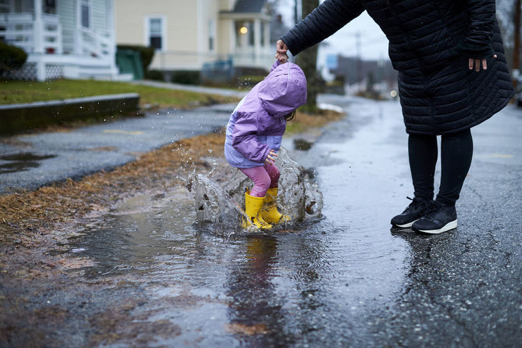 Low section of children in puddle