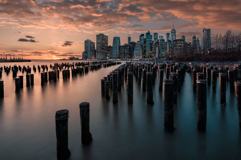 Sunset over Manhattan East River New York New York City Skyline New York City Skyline Pylons River Sunset First Eyeem Photo