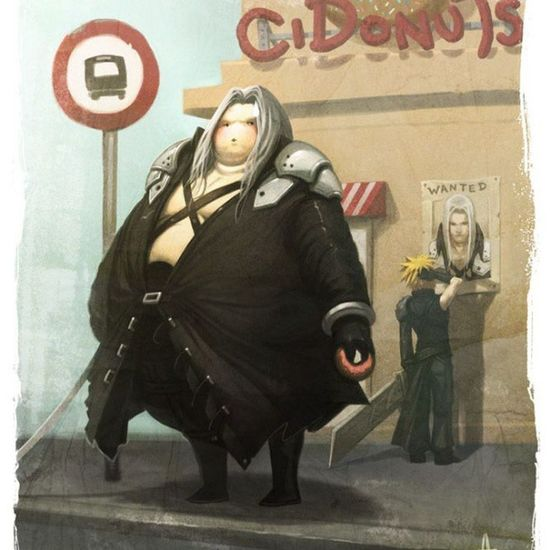 I found this on Tumblr and could not stop laughing. Sephiroth looks so fat. Finalfantasy Cloud Fat