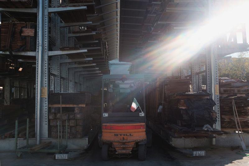 Sun shining through building