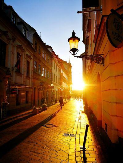 City Street Light Sunset Architecture Illuminated Travel Destinations Outdoors Bratislava, Slovakia Bratislava City! Sunset_collection Beautiful City Evening Light Live For The Story