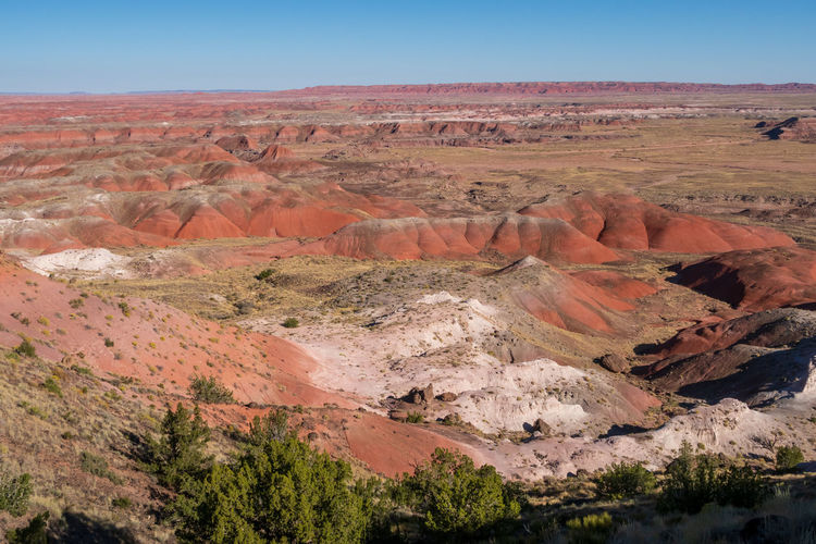 Red, white and pink desert hills at the painted hills in petrified forest national park in arizona