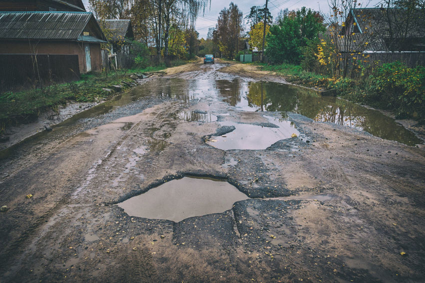 Bad road Asphalt Autumn Bad Road Broken Car Danger Hole Mud Nature Outdoors Pothole Puddle Road Roadbed Russia Street Water Water Reflections