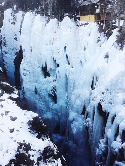 Ice Waterfall in the Ouray gorge in Colorado Colorado Ouray Climb Ice Waterfall Icefall Gorge Outdoors Photograpghy  Ice Climbing Winter Snow Cold Temperature Frozen Nature Day Beauty In Nature Water White Color Mountain