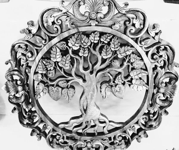 Bali, Indonesia Black And White Photography Cultures Decorative Art Leaves Life Sculpture Statue Tree Wood