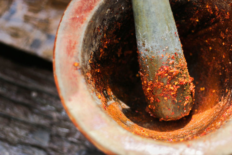 Close-up of mortar and pestle with spices