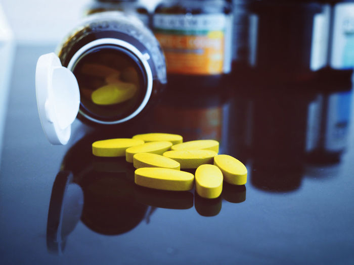 Close-up of pills on table