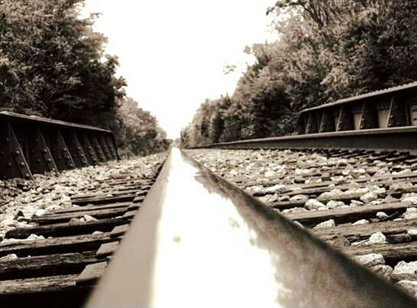 Railroad,rock island,oklahoma Railroad Track Rail Transportation Transportation Bridge - Man Made Structure The Way Forward Tree Outdoors No People Railroad Tie Straight Day Sky