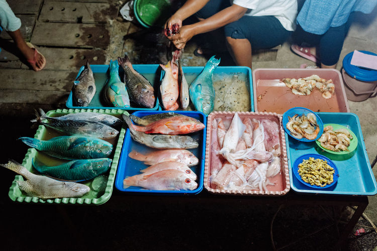 High angle view of fish on table