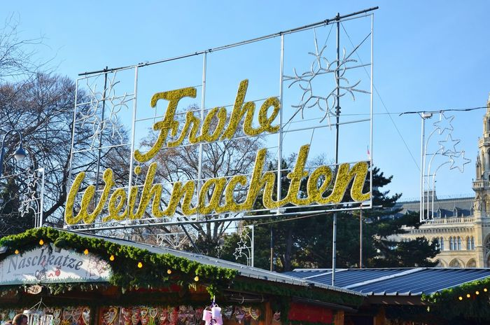 Architecture Building Exterior Built Structure Christkindlmarkt Christmastime Day Holidays Low Angle View No People Outdoors Season  Sky Text Tree X-mas